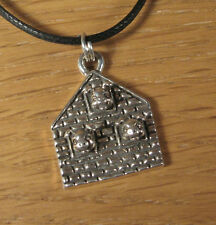Three Little Pigs Charm Pendant Necklace .925 Sterling Silver Brick House USA