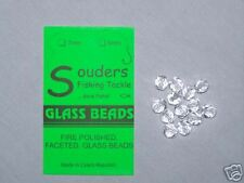 7mm Round, Faceted, Fire Polished Glass Beads - Clear