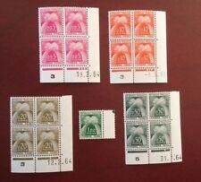 France timbre taxe gerbes 5 val serie coins datés bloc de 4 neuf sans charnière