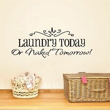 Laundry Today Quote Home Laundry Room Vinyl Wall Sticker Removable Art Decal