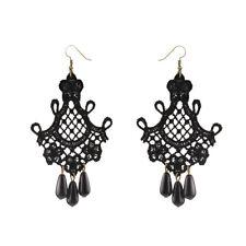 Dangle Drop Earrings Statement Je~eFeh Vintage Women Handmade Gothic Lace Tassel
