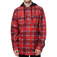 2016 NWT MENS VOLCOM FIELD BONDED FLANNEL JACKET $100 S Red hooded waterproof