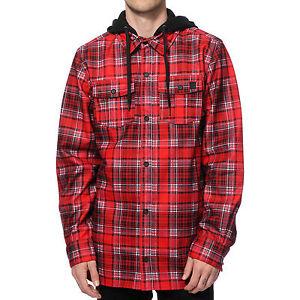 NWT MENS VOLCOM FIELD BONDED FLANNEL JACKET $100 S Red hooded waterproof