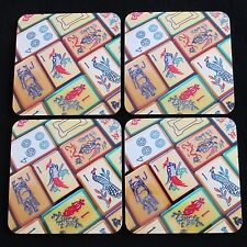 Coasters, New Set of Four, Vintage Enrobed Tile Design, Mahjong Theme Mah Jongg