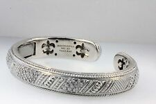 SIGNED JUDITH RIPKA 925 STERLING CZ HINGED CUFF BRACELET DIAMONIQUE PAVE SET
