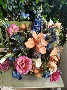 Large Artificial Decorative Floral Arrangement in Blue Ceramic Vase
