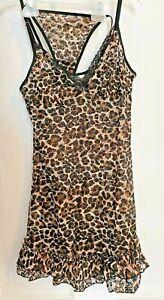 2 Piece Victoria's Secret Lingerie Set Sz L Leopard Print Sheer Babydoll & Thong