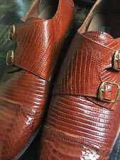 Stacey Adams Men's Genuine Snake Skin Chesnut Shoes With Buckle Size 14 M