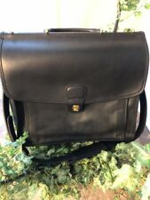 VINTAGE COACH BLACK LEATHER BRIEFCASE LAPTOP BAG #D8C-5299 NEW~ MADE IN USA!