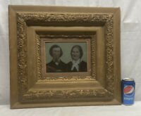 Vtg ANTIQUE Victorian 8x10 TIN TYPE Couple Portrait SMALLOrnate Chalk Wood Frame