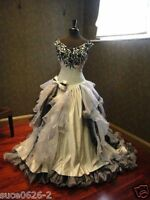 Black and White Organza Off Shoulder Bridal Gowns Ball Gown Gothic Wedding Dress