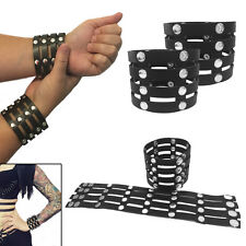 Pair-Black Studded Strap PU Leather Wrist Cuffs Bracelet Harajuku Punk Rock Goth