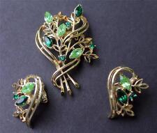 Vintage Goldtone Green Rhinestones Set Pin Brooch Clip-On Earrings