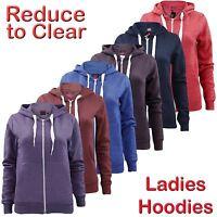 New Ladies Girls Plain Zip Up Hoodie Sweatshirt Women Fleece Hooded Jacket Top