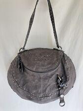 George Gina Lucy studded gray round leather handbag purse
