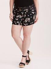 Torrid Floral Print Belted Sateen Shorts Black 10 #17291 Measurements Below