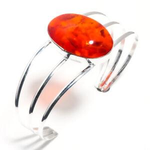 Honey Amber Natural Gemstone 925 Sterling Silver Jewelry Cuff Bracelet Size-Adj