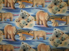 POLAR BEAR BABY BEARS SNOW ICE BLUE COTTON FLANNEL FABRIC BTHY