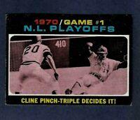 1971 topps NL Playoffs Pittsburgh Pirates Cincinnati Reds CARD #199 Game #1 MLB