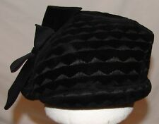 Riviera Finest Quality Velour Black Vintage Hat Womens Italy Cloche Pillbox Net