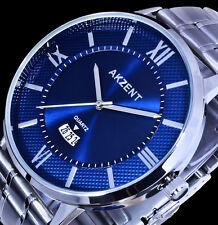 Akzent Uhr Herrenuhr Armbanduhr Blau Silber Farben Datum Edelstahlarmband EX-1