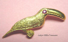 14k SOLID GOLD TOCO TOUCAN BIRD CHARM PENDANT 3.38gr NATURAL RUBY EYE 09ct  USA