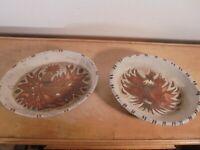 Céramique Vintage 60 Duo Plats Ovales Creux grès Émaillé J G Picard VALLAURIS