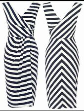 BNWT Phase Eight  /8 Stripe Renee Dress in Navy and Ivory Size 12