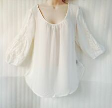 Womens White Ivory Blouse Crochet Lace Shirt Boho Top size 14/16/L New 3/4Sleeve
