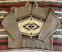 Men's Pendleton 100% Lambs wool Brown Aztec Print 1/4 Zip Pullover Sweater, Sz M
