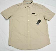 Sean John Button Down Shirt Men's 3XB 3X 3XL Pocket Woven Taupe Khaki Urban P655