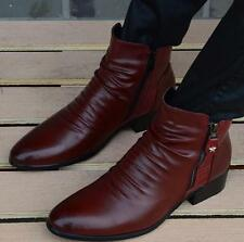 Retro men's Dress Formal pointy toe casual shoes cuban heel zip up ankle boots
