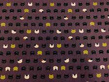 RPFNT34D Japanese Mini Faces Neko Kitty Cat Kitten Gold Cotton Quilt Fabric