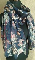 Ladies Blue Floral Feather Print Spring Summer Fashion Scarf BNWT