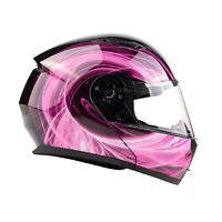 Modular Helmet Flip Up Motorcycle Adult Pink Swirl DOT Integrated Sun Visor
