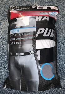 NIP Men's 3 Pack Of PUMA Tech STRETCH Boxer Briefs. Sz LARGE (36-38)