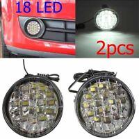 2pcs White lights 18LED Round Daytime Running Light DRL Car Fog Day Driving Lamp
