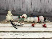 Holiday Christmas Tree 5 Set Snowman Ski Skates Bucket Vines Bulb Ornaments