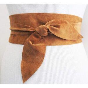 Women's Pure Genuine Leather Obi Belt Ladies Wide Waistband Self Tie Waist Band