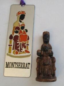 VINTAGE MINIATURE BLACK MADONNA OF MONTSERRAT FIGURINE and BOOKMARK