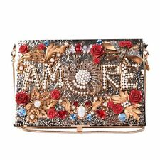 DOLCE & GABBANA Crystals Roses Embellished Metallic Box Clutch AMORE Bag 06524