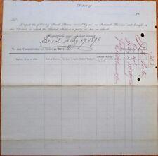 US Marshal's Report/IRS/Internal Revenue 1870 Document, 'Final Process'