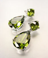 STUNNING Pear Shaped Olive Green Crystals Silver Dangle Post Earrings