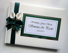 PERSONALISED WEDDING GUEST BOOK WITH LILIES (GREEN) - ANY COLOUR