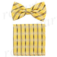New Men's Pre-tied Bow tie & hankie yellow brown stripes striped wedding formal