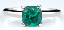 14KT White Gold Cushion Shape 1.20 Carat Natural Zambian Emerald Solitaire Ring