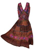 Midi Patchwork Summer Dress Copper Embroidered  Festival One size 10 12 14 16 18