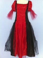 ADULT 12 14 16 Red Black Goth Medieval Fancy Dress CostumeCLEARANCE