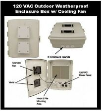 Enclosure with Cooling Fan 120 VAC OUTDOOR Cabinet Box - Weatherproof Waterproof