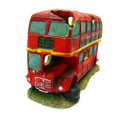 Double-decker bus Aquarium Ornament 22.3cm - car decoration fish tank poly resin